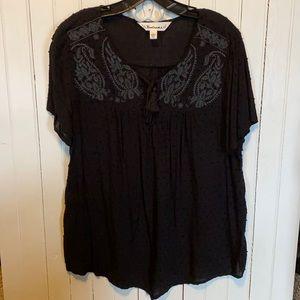 Tantrums Blouse Short Sleeve Black Embroidered L